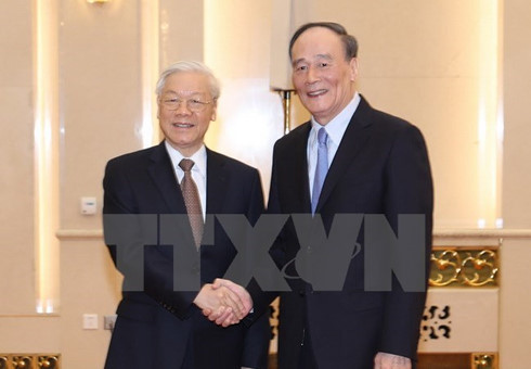 Party General Secretary Nguyen Phu Trong meets Wang Qishan, Secretary of the Chinese Party Central Committee's Commission for Discipline Inspection