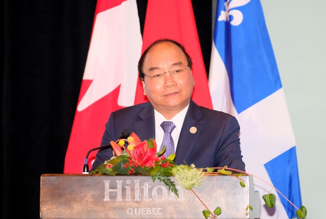 PM Nguyen Xuan Phuc calls for further Canadian investment into Vietnam. (Photo: VGP)