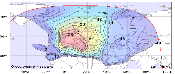 The broadcast area of Eutelsat Hot Bird 13B in Europe