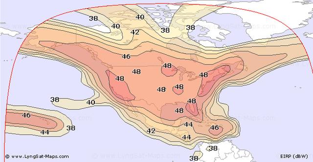 The broadcast area of Galaxy 19 in North America.