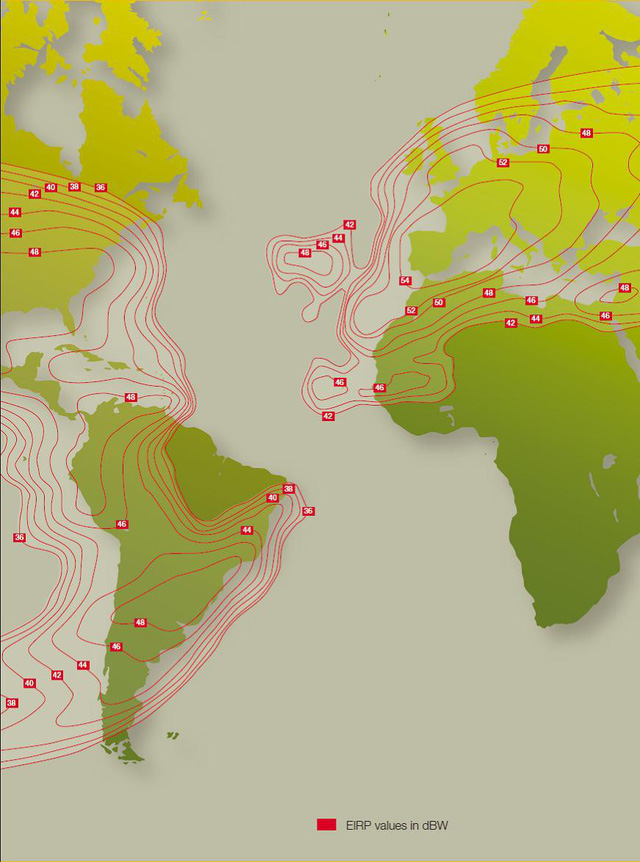 The broadcast area of Thaicom5 in Asia and North Africa.  