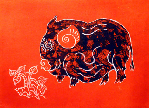 A pig in the Kim Hoang folk painting genre.