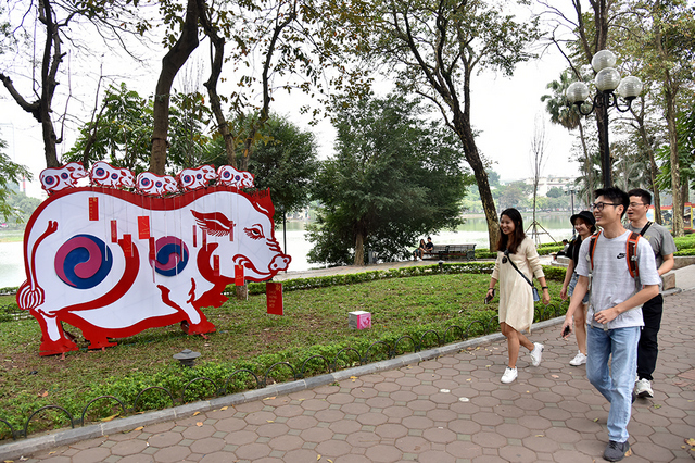 At another corner of Hoan Kiem Lake, a group of Korean tourists enjoy watching the mascot of the Year of the Pig.