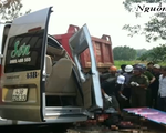 Tai nạn ở Quảng Ngãi: Xe khách kẹp giữa 2 tải, 3 người thiệt mạng