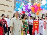 Tổng Bí thư dự lễ khai giảng Trường THPT Nguyễn Gia Thiều