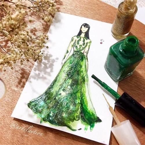 Mê mẩn những thiết kế thời trang long lanh từ sơn móng tay - Ảnh 14.