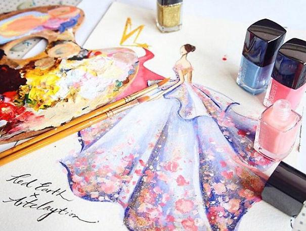 Mê mẩn những thiết kế thời trang long lanh từ sơn móng tay - Ảnh 8.