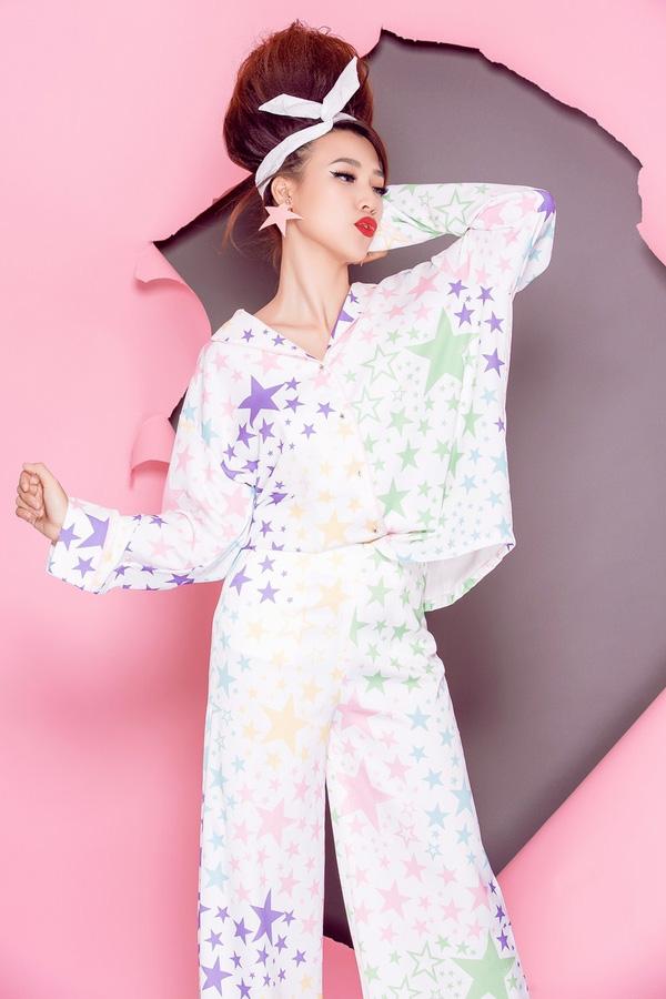 Á hậu Hoàng Oanh sành điệu với gam màu pastel - Ảnh 3.