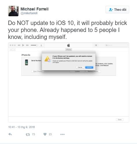 """iOS 10 có thể khiến iPhone của bạn trở thành """"cục gạch""""? - Ảnh 2."""