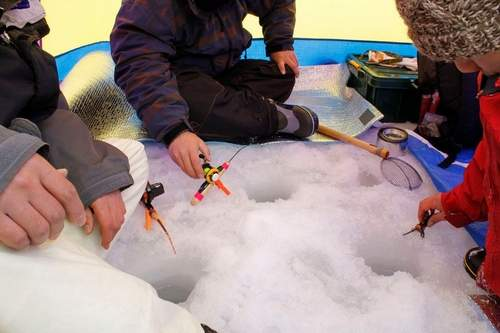 Câu cá trên băng hồ Haibara ở Nhật Bản - Ảnh 7.