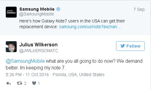 """Nhiều fan của Galaxy Note7 vẫn kiên quyết """"ôm bom"""" - Ảnh 2."""