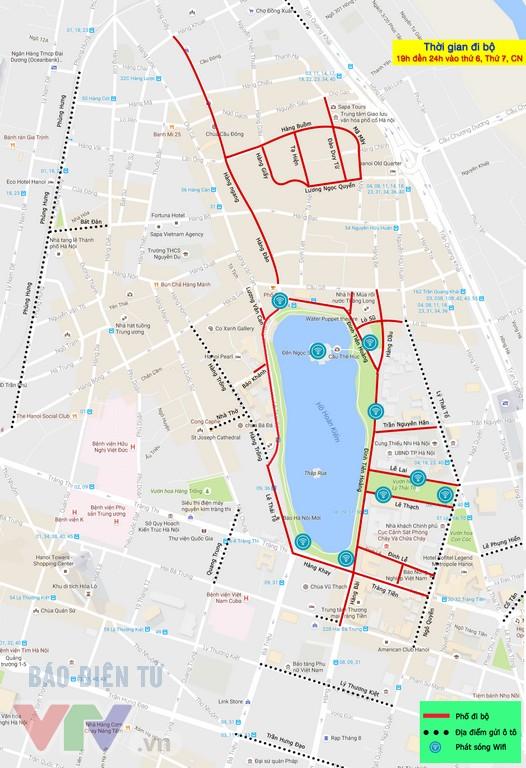 Bản đồ phố đi bộ, điểm trông giữ xe, điểm phát wifi quanh hồ Hoàn Kiếm - Ảnh 1.