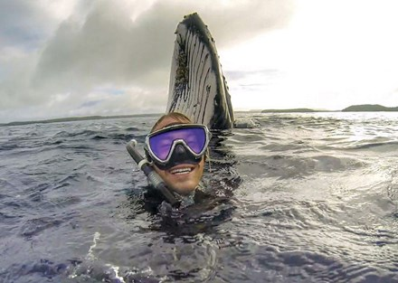 Gây sốt với bức ảnh tự sướng với cá voi - Ảnh 1.