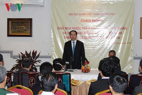 Chủ tịch nước gặp cộng đồng người Việt tại Brunei - Ảnh 1.