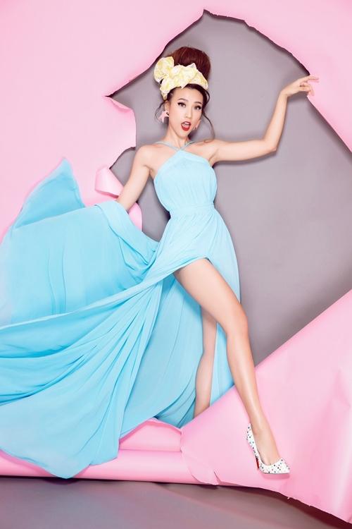Á hậu Hoàng Oanh sành điệu với gam màu pastel - Ảnh 7.