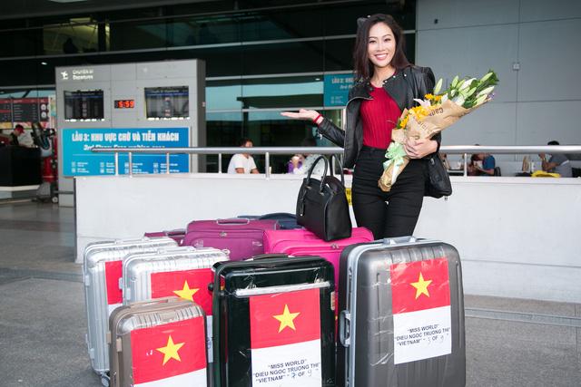 Diệu Ngọc lên đường thi Miss World với... 1 tạ hành lý - Ảnh 2.