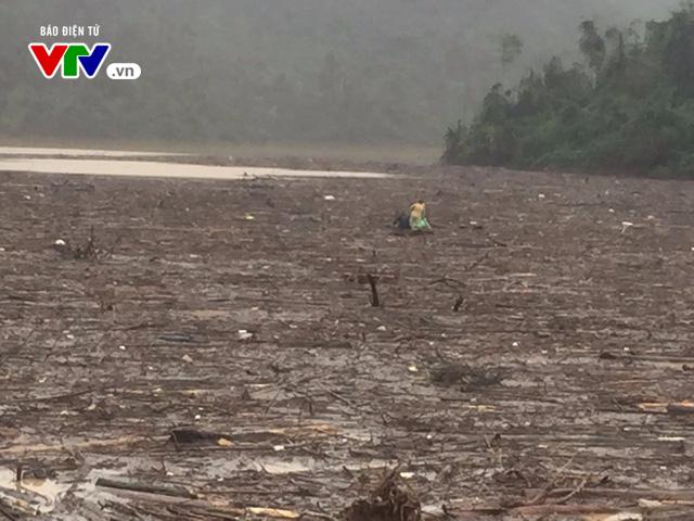Cơn lũ gỗ thượng nguồn đổ về đập thủy điện Hố Hô (Hà Tĩnh) - Ảnh 3.