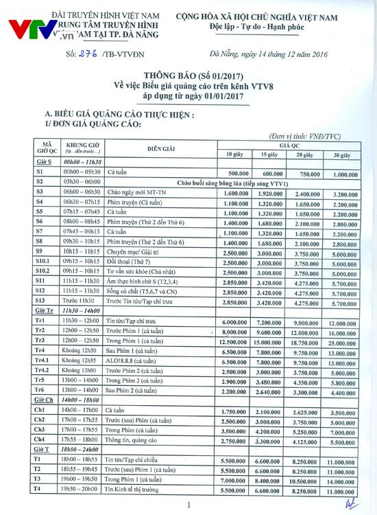Bảng giá Quảng cáo trên kênh VTV8 (áp dụng từ ngày 1/1/2017) - Ảnh 1.