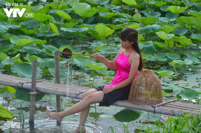 Giới trẻ nô nức chụp ảnh, thả dáng bên hồ sen nở rộ - Ảnh 10.