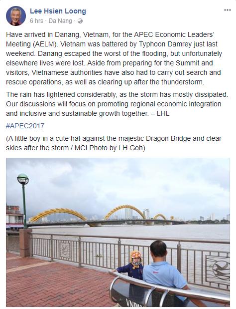 Thủ tướng Singapore Lý Hiển Long đăng ảnh Cầu Rồng lên Facebook sau khi đến Đà Nẵng - Ảnh 1.