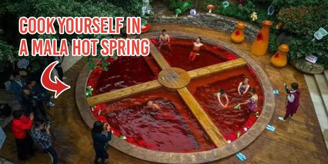 Hồ tắm nước nóng ở Trung Quốc như nồi lẩu cay khổng lồ - Ảnh 1.