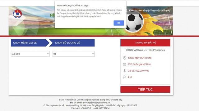Vé chung kết giữa Việt Nam - Malaysia tiếp tục được bán online, giới hạn 2 vé/người - Ảnh 1.