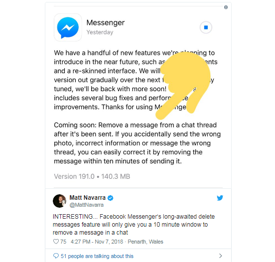 Facebook Messenger cho người dùng 10 phút để xóa tin nhắn đã gửi - ảnh 1