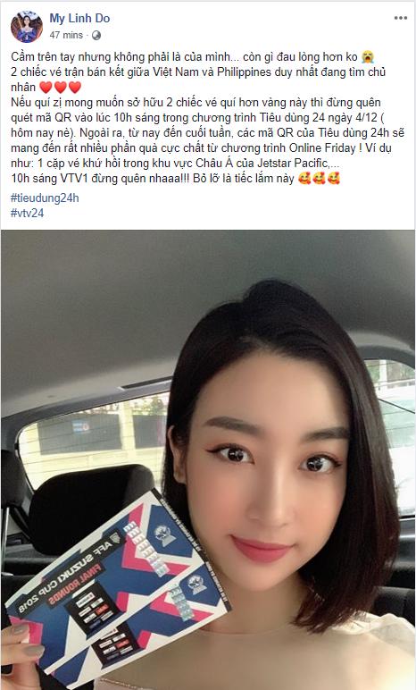 HOT: Hoa hậu Đỗ Mỹ Linh bật mí cách nhanh nhất sở hữu cặp vé bán kết AFF Cup, chỉ có trong hôm nay! - Ảnh 1.