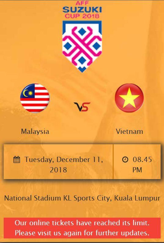 Trang bán vé online chung kết lượt đi giữa Malaysia - Việt Nam quá tải ngay trong ngày mở bán - Ảnh 1.