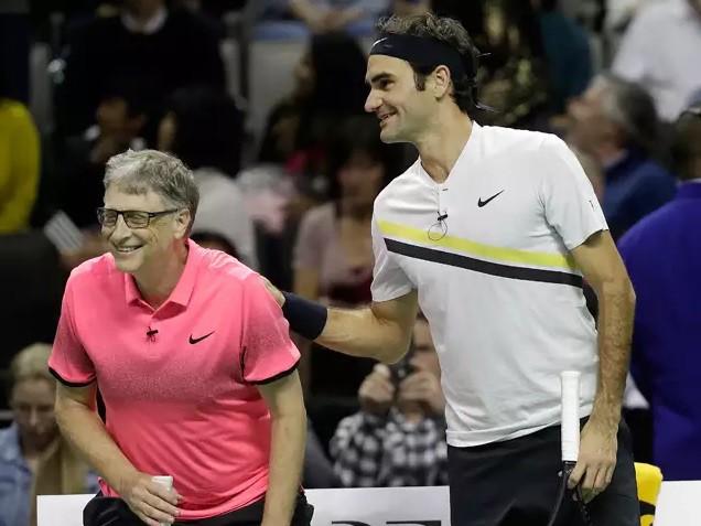 Roger Federer - Bill Gates đánh đôi gây quỹ từ thiện - Ảnh 4.