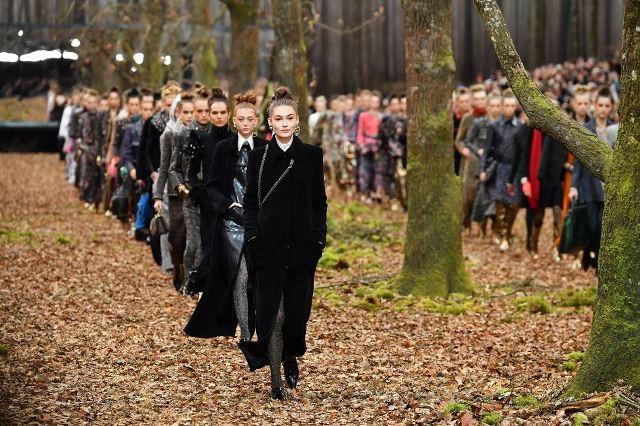 Chanel biến khu rừng lá vàng thành sàn diễn thời trang - Ảnh 4.