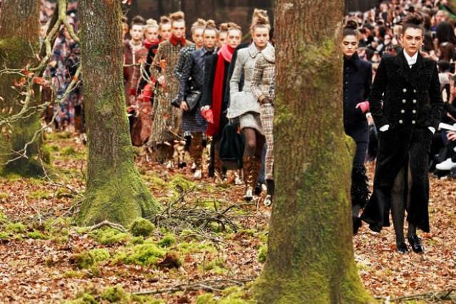 Chanel biến khu rừng lá vàng thành sàn diễn thời trang - Ảnh 3.
