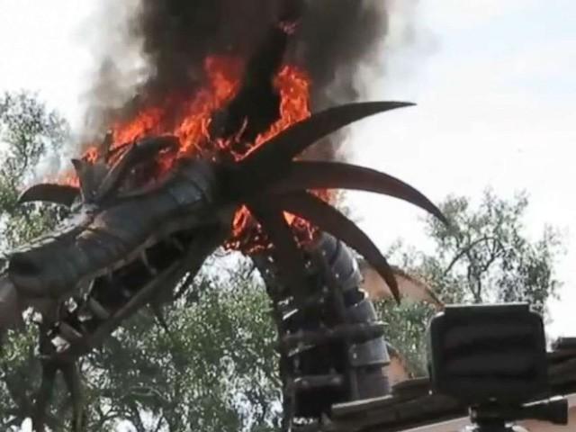 Mô hình rồng lửa bỗng bốc cháy dữ dội nhưng du khách vẫn đứng xem thích thú - Ảnh 2.