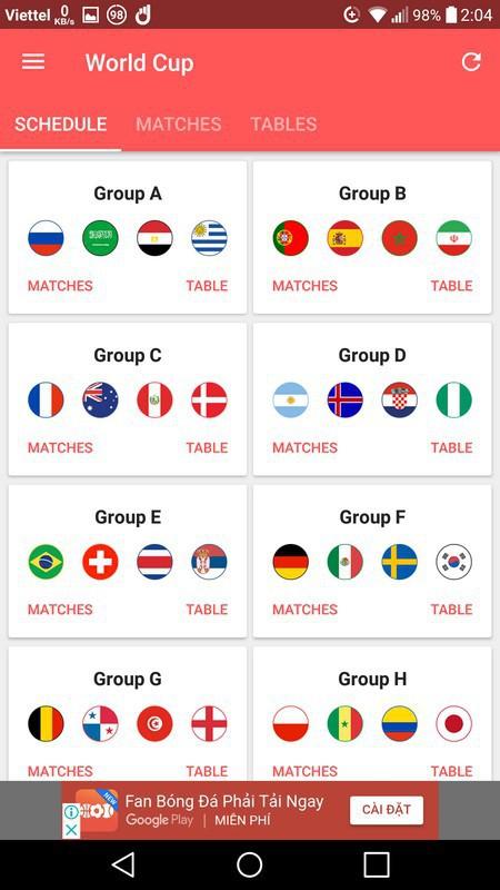Lịch thi đấu thông minh - Ứng dụng không thể thiếu trên smartphone trong mùa World Cup 2018 - Ảnh 1.