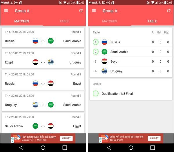 Lịch thi đấu thông minh - Ứng dụng không thể thiếu trên smartphone trong mùa World Cup 2018 - Ảnh 2.