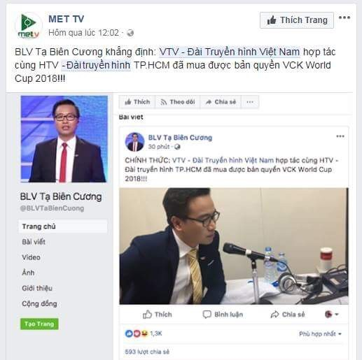 BLV Tạ Biên Cương: Tôi không dùng Facebook, 100% tài khoản mang tên tôi đều là giả mạo - Ảnh 1.