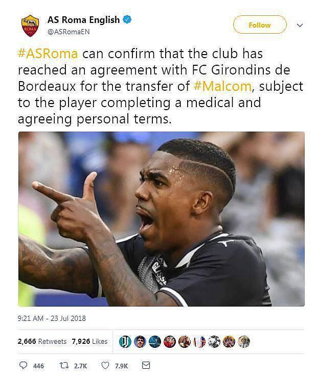 Bị Barcelona nẫng tay trên trên vụ Malcom, AS Roma bực mình đòi kiện - Ảnh 1.