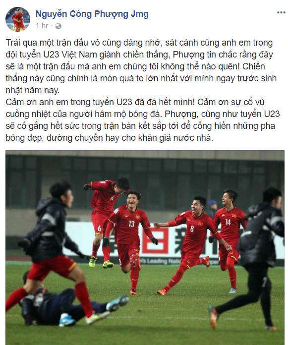 Công Phượng, Đức Huy ăn mừng sinh nhật đáng nhớ sau chiến tích lịch sử của U23 Việt Nam - Ảnh 3.