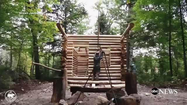 Người đàn ông nổi tiếng vì tự xây nhà gỗ một mình - ảnh 1