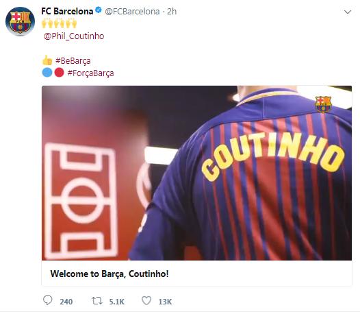 Barcelona hoan hỉ giới thiệu áo đấu của Coutinho - Ảnh 1.