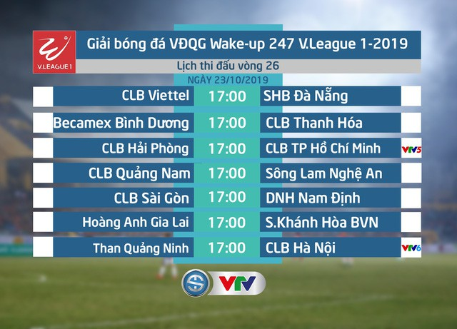 Lịch thi đấu và trực tiếp vòng 26 V.League 2019: CLB Hải Phòng - CLB TP Hồ Chí Minh, Than Quảng Ninh - CLB Hà Nội - Ảnh 1.