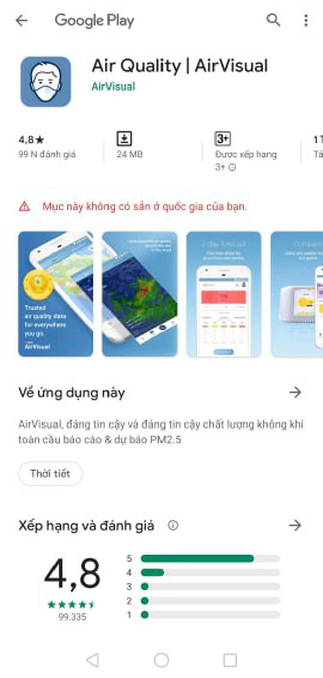 AirVisual chặn người dùng Việt vì hứng chịu bão đánh giá 1 sao - Ảnh 1.