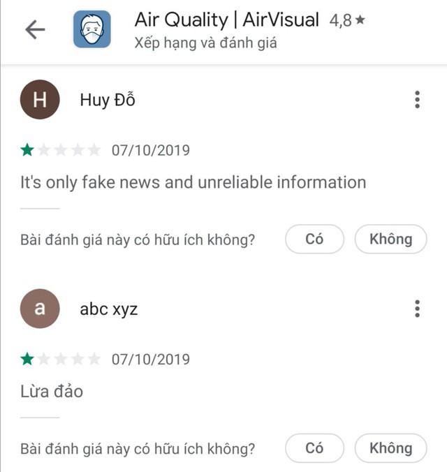 AirVisual chặn người dùng Việt vì hứng chịu bão đánh giá 1 sao - Ảnh 2.
