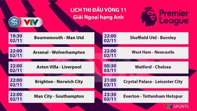 Lịch thi đấu, BXH vòng 11 Ngoại hạng Anh: Bournemouth - Man Utd, Arsenal - Wolverhampton... - Ảnh 1.