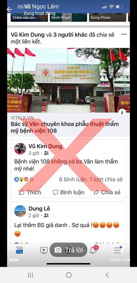 Bệnh viện Trung ương Quân đội 108 cảnh báo tình trạng mạo danh trên mạng xã hội - Ảnh 1.