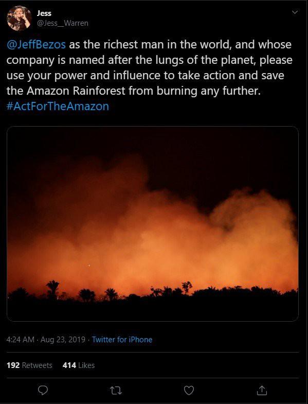 Người dùng Twitter yêu cầu CEO Amazon cứu lấy rừng Amazon - Ảnh 1.
