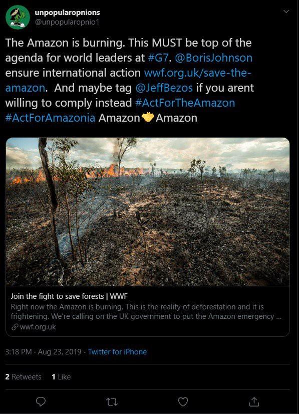 Người dùng Twitter yêu cầu CEO Amazon cứu lấy rừng Amazon - Ảnh 2.