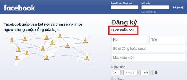 """Facebook âm thầm thay đổi khẩu hiệu, không còn """"miễn phí"""" như trước - Ảnh 1."""