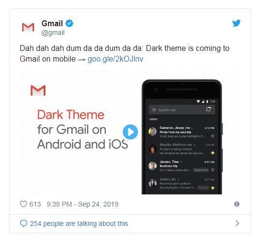 Người dùng Gmail chính thức có thể sử dụng ở chế độ Dark Mode - Ảnh 1.