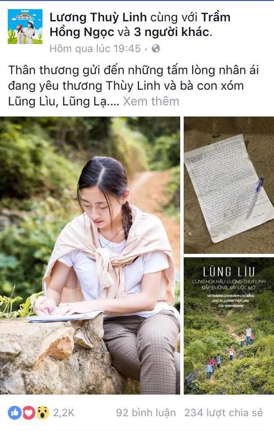 """Hoa hậu Lương Thùy Linh và bức thư viết tay xúc động kêu gọi cho dự án """"Đắp đường, xây ước mơ"""" - Ảnh 3."""